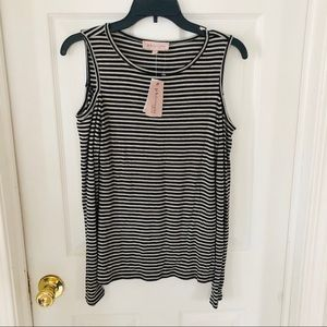 NWT Philosophy striped ribbed cold shoulder top S